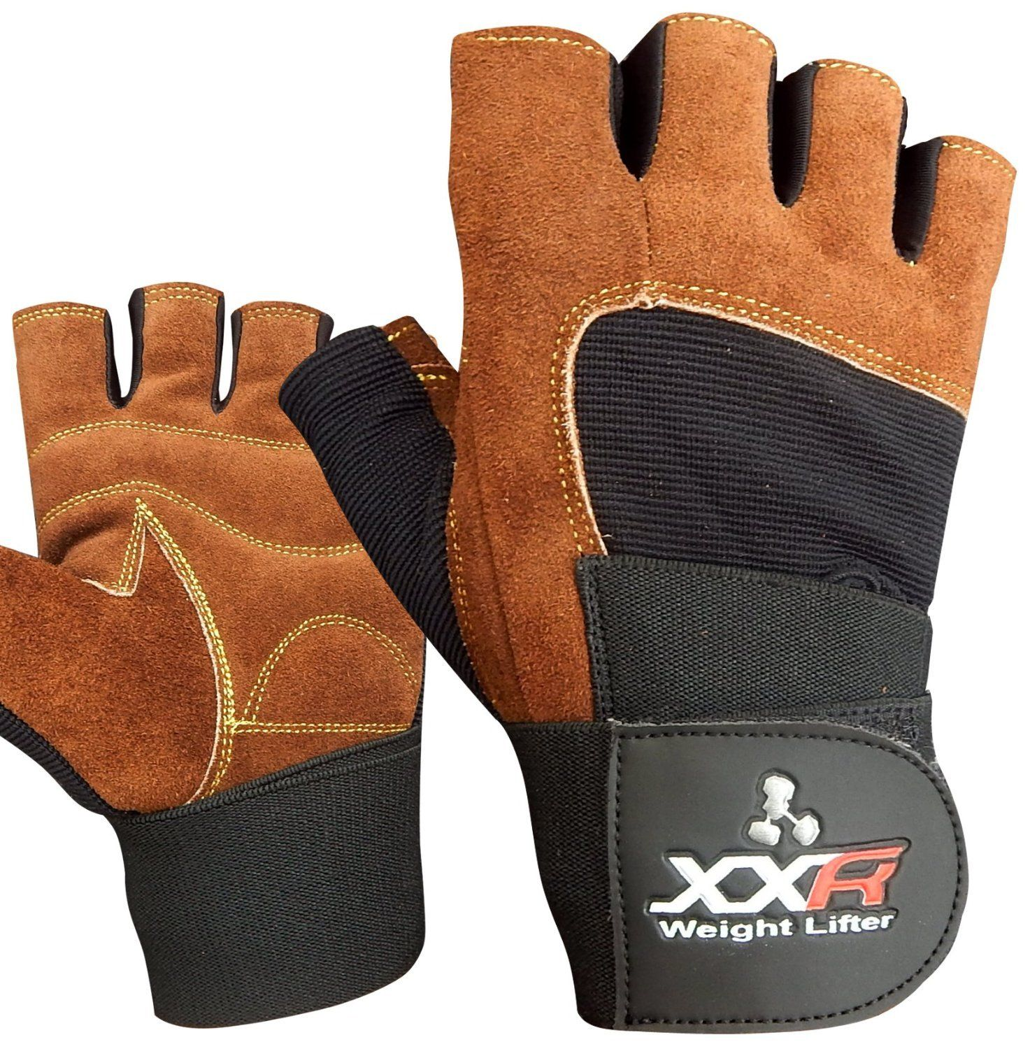 Chzl Mens Au Leather Velcro Weight Lifting Fitness: XXR BROWN Weight Lifting Gloves Strengthen Training